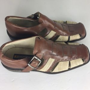 Stacy Adams Brown Two Tone Leather Ankle Sandals